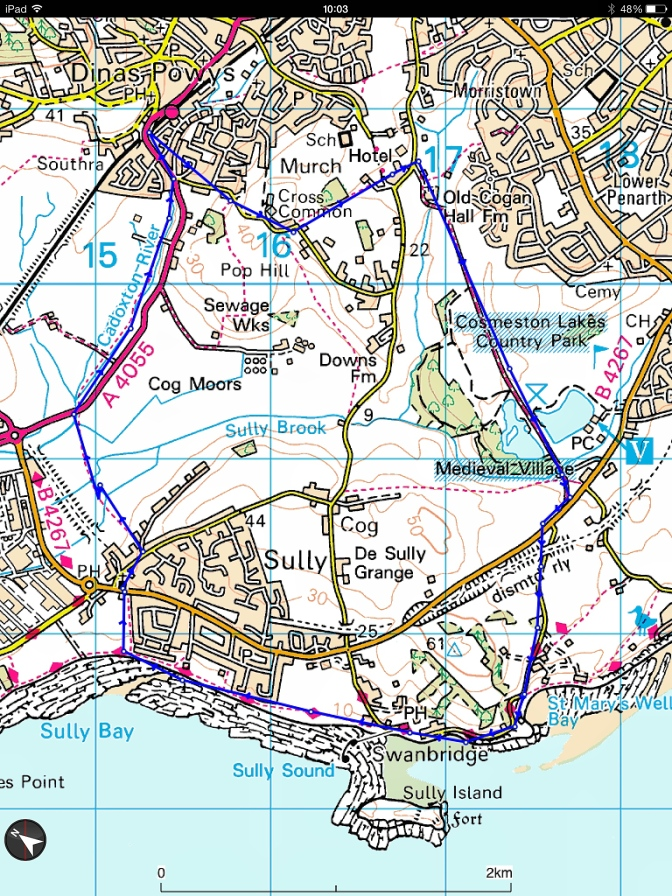 Original intended route - but we missed out the northern wet fields