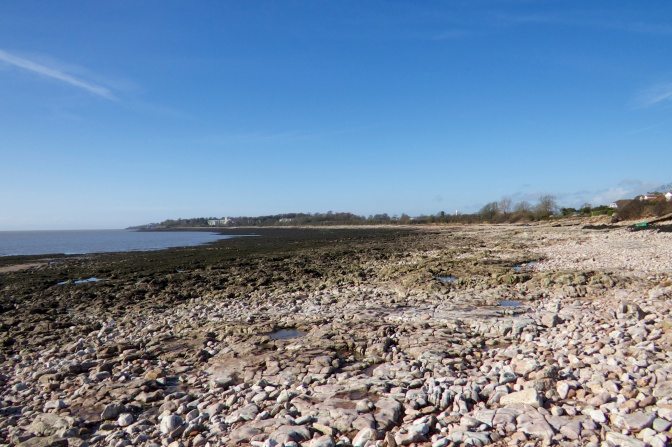 Sully Beach at low tide looking westwards to Barry.