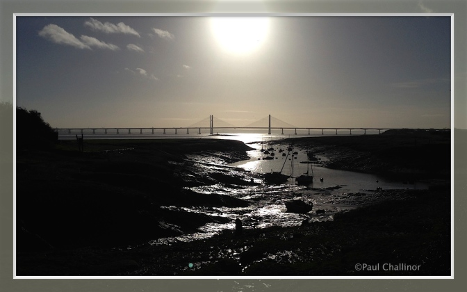 The New Severn Bridge behind St Pierre Pill.