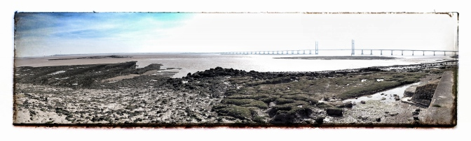 A panorama of the estuary. If you look really closely and squint you can see the Old Severn Bridge on the left.