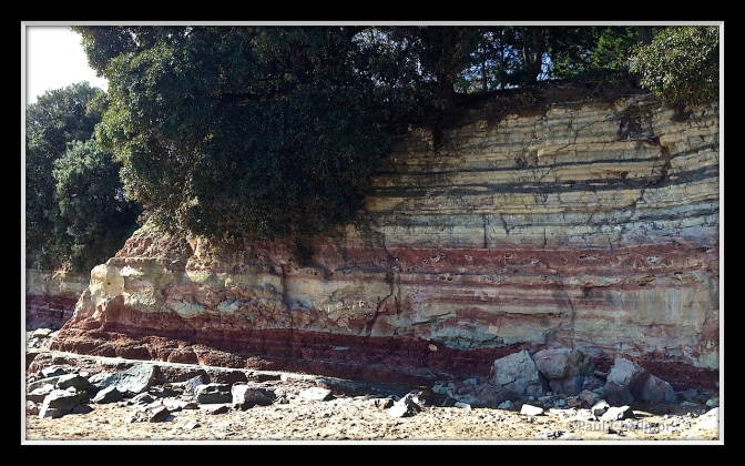 Sedimetary cliffs at the edge of Barry Island beach.