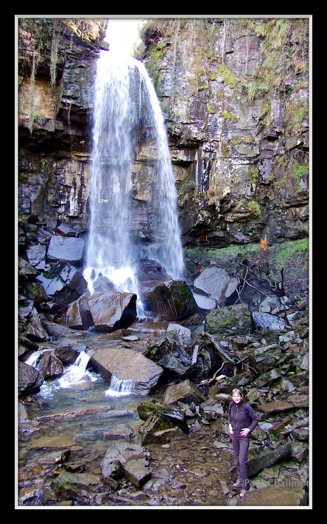 Melincwrt Waterfall with Karen.