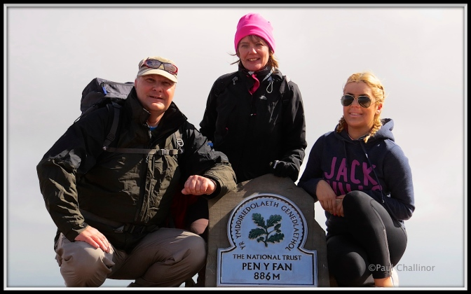 We conquered the mountain! On top of the Pen Y Fan cairn.