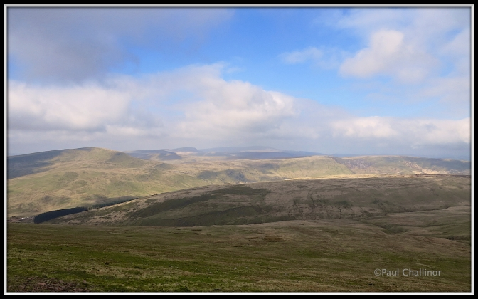 Loking south towards Fan Fawr (left) then Fan Llia and Fan Dringeth