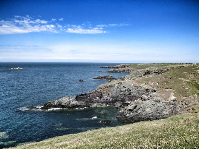 View along the coast between Porth Iago and Porthor