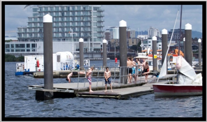 The kids were having a great time jumping off the pontoons.