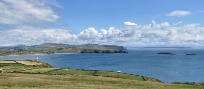 Looking South to the long beach at Aberdaron, and Ynys Gwylan-Fawr and Ynys Gwylan-Fach.