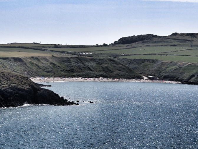 Porth Oer coming into view.