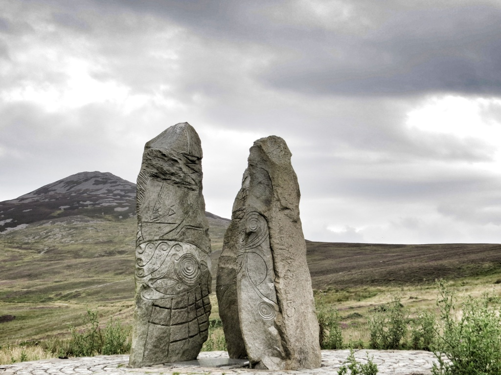 A new sculpture based on the standing stones of Wales. You can see Tre'r Ceiri in the background (see my previous post)