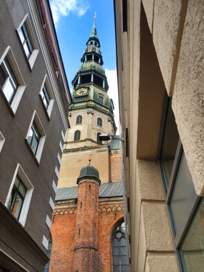 Almost everywhere you walk in he the old city are its possible to see the tower of St Peters towering over the narrow streets. First mention of the St. Peter's Church is in records dating to 1209. The church was a masonry construction and therefore undamaged by a city fire in Riga that year. The history of the church can be divided into three distinct periods: two associated with Gothic and Romanesque building styles, the third with the early Baroque period. The middle section of the church was built during the 13th century, which encompasses the first period. The only remnants of this period are located in the outer nave walls and on the inside of a few pillars in the nave, around which larger pillars were later built.