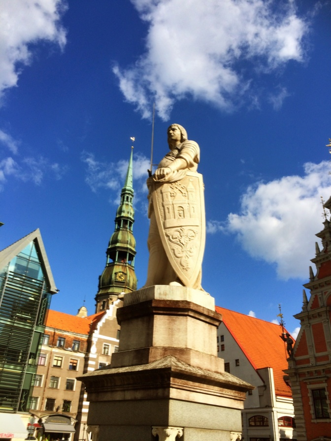 A Roland statue is something typical to be found in many old cities in Germany, central Europe and the Baltic States. This statue, depicting a kight with his sword, is seen as a symbol of medieval city rights and independence.