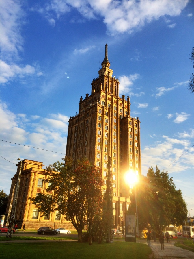 The Academy of Sciences edifice was built after World War II, between 1953 and 1956, collecting the necessary financing from the newly established kolkhozes in Latvia and - as further expenses increased, collecting the finances as