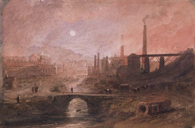 A painting of the steelworks near Brynmawr artist unknown (well to me at least).