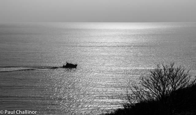 As we climbed the cliffs on the other side of the Bay the Mumbles Life Boat came past on an exercise.