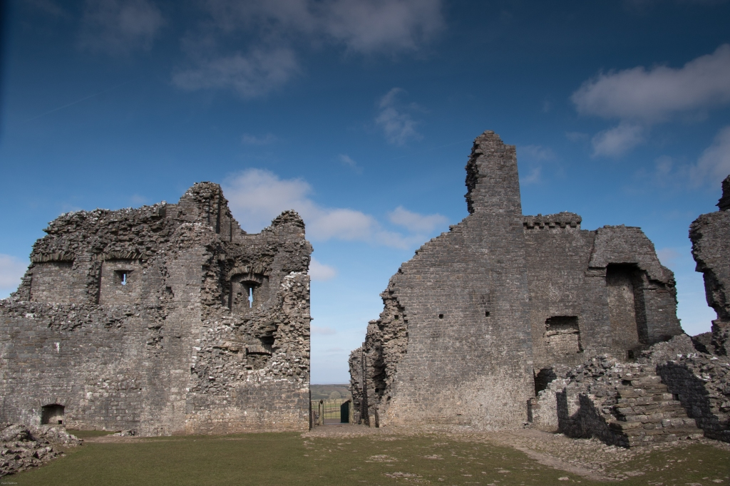 Looking across the inner ward towards the main gate house, now in ruin