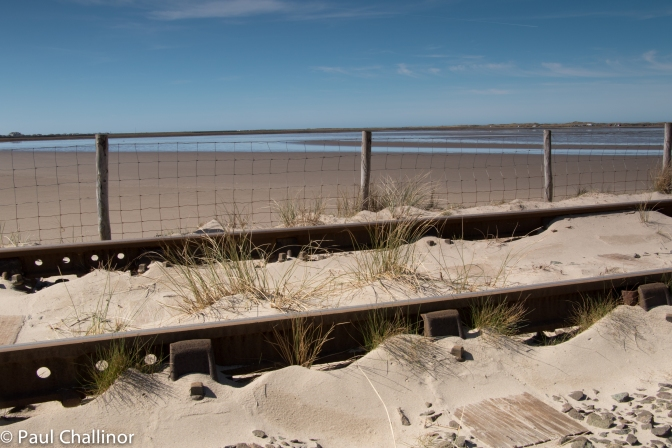 The prevailing south westerly winds blow sand on the lines, and almost make the track part of the dune systems.