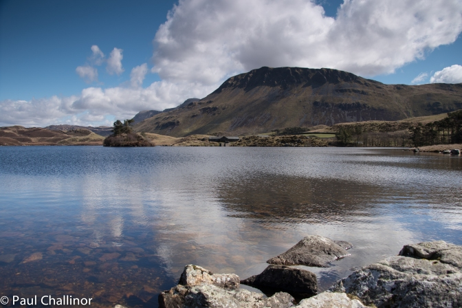 Looking south east across  the lake with Craig-las behind. It's possible to just see the shoulder of Cadair Idris as well