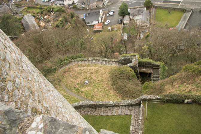 Looking down from the top of the walls to the base of the rock