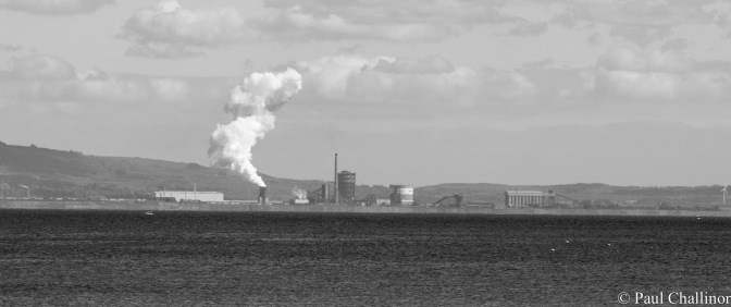 Port Talbot Steelworks on the other side of Swansea Bay.