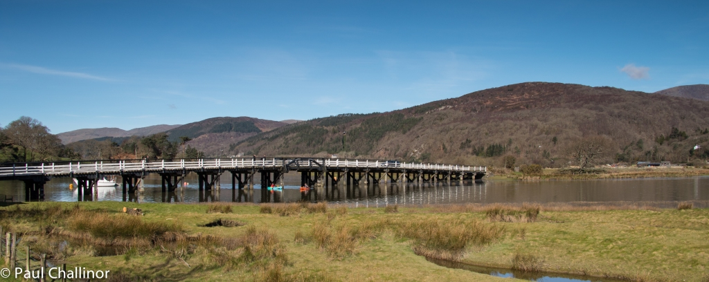 The Penmaenpool Toll bridge from the Northern bank.