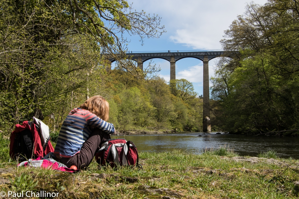 The aqueduct from the bank of the River Dee. The perfect place for a Cornish Pasty.