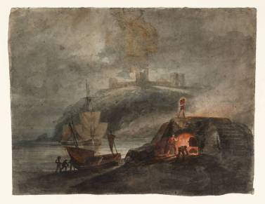 Llanstephan Castle by Moonlight, with a Kiln in the Foreground 1795-6 by Joseph Mallord William Turner 1775-1851